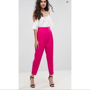 ASOS Pink High Waist Tapered Pants